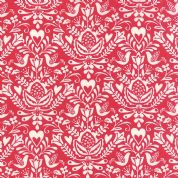 Moda North Woods by Kate Spain - 4814 - Stylised Winter Floral with Doves in Red & White - 27242 21 - Cotton Fabric